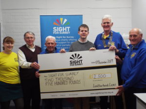 Leatherhead Lions cheque presentation to Sight for Surrey