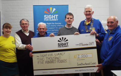 Sight for Surrey receives a roaring donation from The Leatherhead Lions