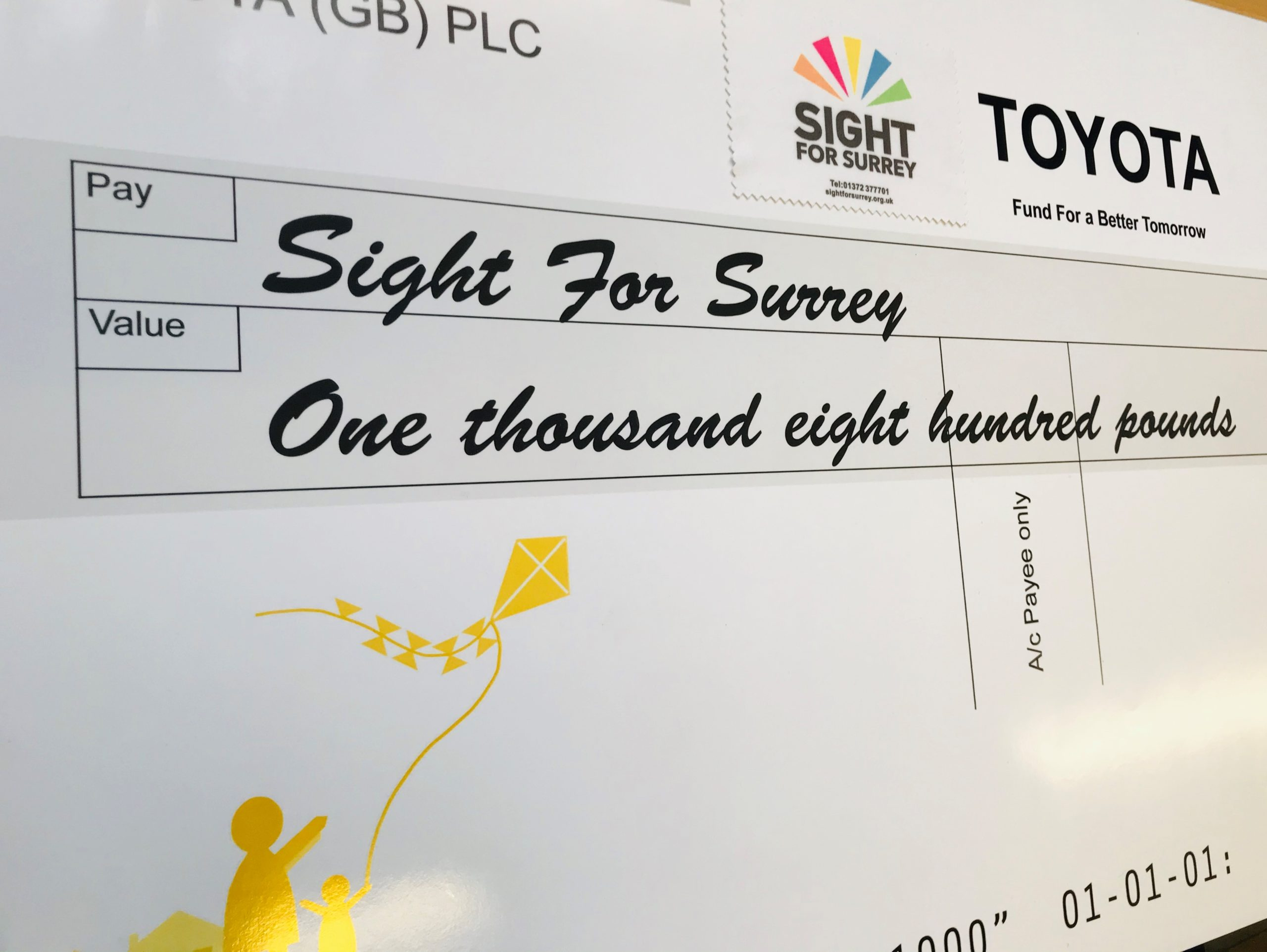 Toyota Fund for a Better Tomorrow Cheque